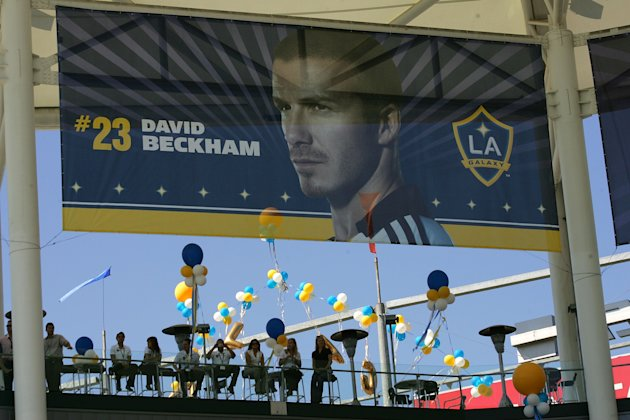 CARSON, CA - JULY 13: The stadium is decorated with a Beckham banner during the official introduction of David Beckham as a Los Angeles Galaxy player on July 13, 2007 at the Home Depot Center in Carso