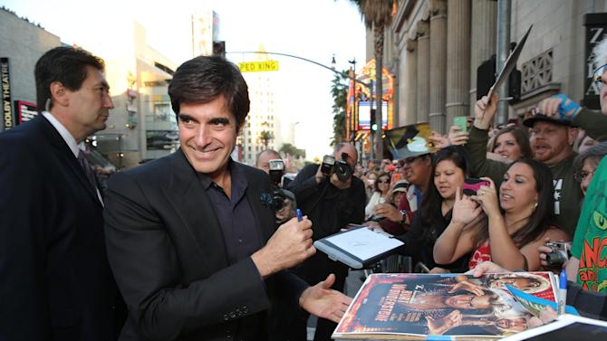 David Copperfield at New Line Cinema's World Premiere of 'The Incredible Burt Wonderstone' held at Grauman's Chinese Theatre on Monday, Mar., 11, 2013 in Los Angeles. (Photo by Eric Charbonneau/Invision for New Line Cinema/AP Images)