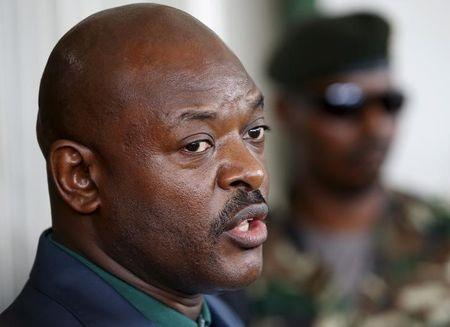 Nkurunziza speaks during a news conference in Bujumbura