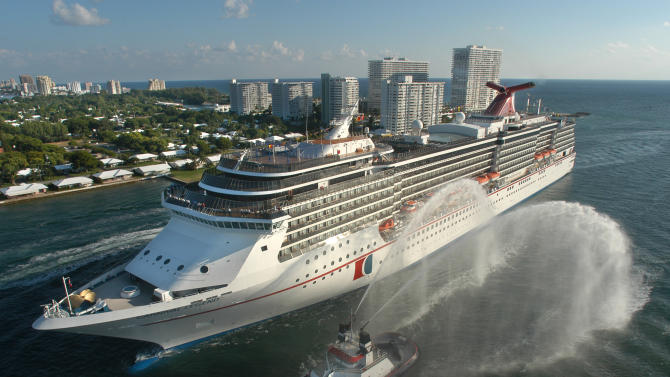 FILE - In this Nov. 8, 2002 file photo, the Carnival Legend, a 2,100-passenger, 960-foot-long cruise ship, arrives at Port Everglades in Fort Lauderdale, Fla. Carnival Cruise Lines says, Sunday, March 17, 2013, that the Carnival Legend, which experienced technical issues with its propulsion system and canceled one stop, has arrived as scheduled in Tampa, Fla. (AP Photo/Carnival Cruise Lines, Andy Newman, File)