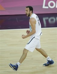 Argentina&#39;s Manu Ginobili reacts during the men&#39;s bronze medal basketball game against Russia at the 2012 Summer Olympics, Sunday, Aug. 12, 2012, in London. (AP Photo/Matt Slocum)