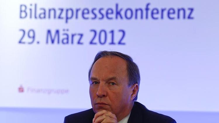 Haeusler, CEO of BayernLB pauses during the company's annual news conference in Munich