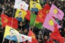 Kurds take part in a demonstration calling for the release of Kurdistan Workers Party leader Ocalan, in Strasbourg