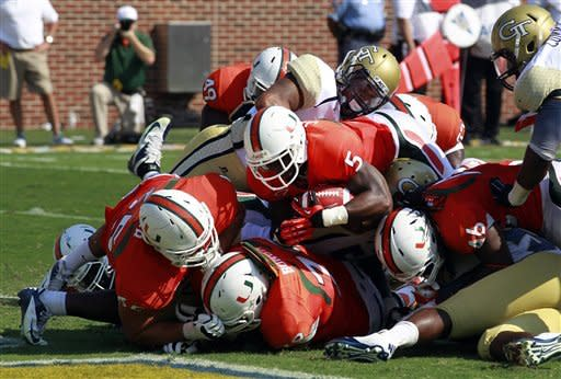 Miami edges Georgia Tech 42-36 in overtime