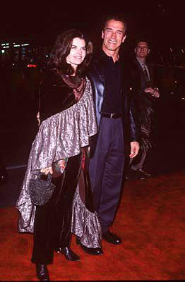 Maria Shriver and Arnold Schwarzenegger at the premiere of Paramount's Titanic