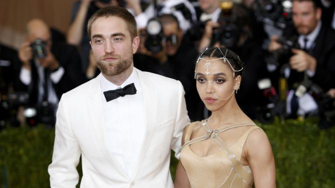Singer-songwriter FKA Twigs and actor Pattinson arrive at the Met Gala in New York