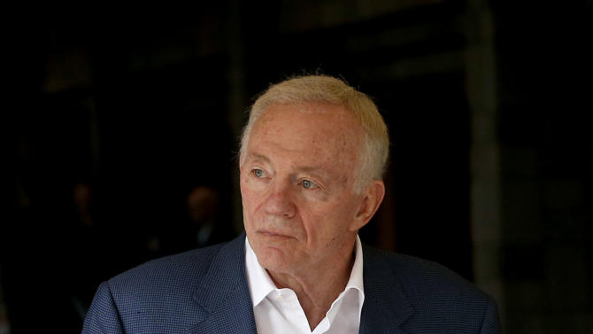 Dallas Cowboys owner Jerry Jones leaves the owners morning session after it adjourned at the annual NFL football meetings at the Arizona Biltmore, Wednesday, March 20, 2013, in Phoenix. (AP Photo/Ross D. Franklin)