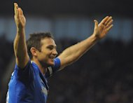 Chelsea's Frank Lampard celebrates after scoring during the English Premier League match against Stoke City at the Britannia Stadium in central England, on January 12, 2013. Chelsea have denied reports they were holding talks with Lampard over a new contract