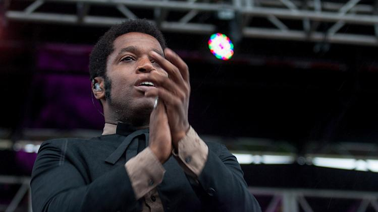 Ty Taylor, lead singer for Vintage Trouble, performs at the inaugural Shaky Knees Music Festival on Saturday, May 4, 2013, in Atlanta. (AP Photo/Ron Harris)