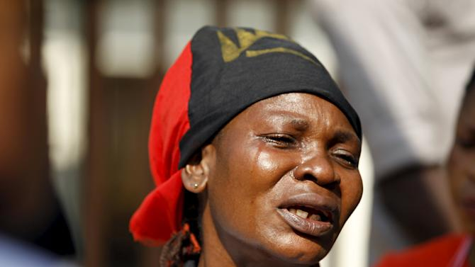 A Biafra supporter reacts during a rally in support of Indigenous People of Biafra (IPOB) leader Nnamdi Kanu, who is expected to appear at a magistrate court in Abuja,