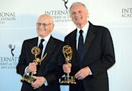 Alan Alda, right, and Norman Lear pose for photos after winning Special Founders Awards at the 40th International Emmy Awards, Monday, Nov. 19, 2012 in New York. (AP Photo/Henny Ray Abrams)