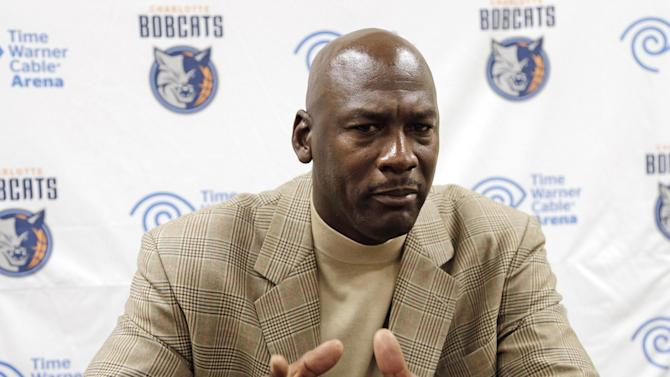 Charlotte Bobcats owner Michael Jordan talks about the progress his NBA basketball team is making during an interview with The Associated Press Friday, Nov. 1, 2013, in Charlotte, N.C. (AP Photo/Chuck Burton)