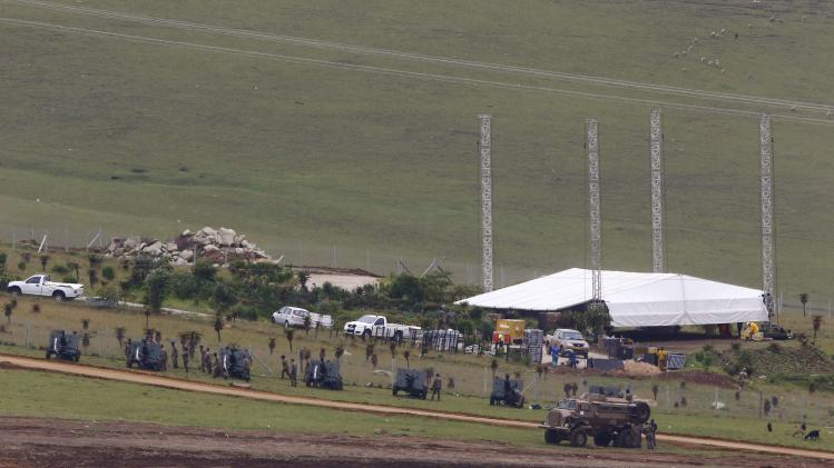 Ceremonial guns are in position near the graveyard within the property of former South African President Mandela in Qunu