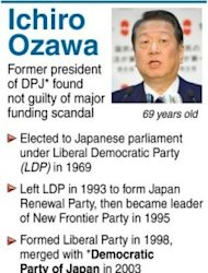 Profile of Ichiro Ozawa, former president of the Democratic Party of Japan. Ozawa was cleared by Tokyo District Court on Thursday of allegations he conspired with aides to hide 400 million yen he lent to his political funding body in 2004 for a land deal