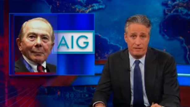 Jon Stewart Writes the Book on AIG