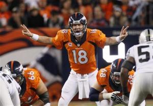 Denver Broncos' Manning calls the play against the Oakland Raiders during their NFL football game in Denver