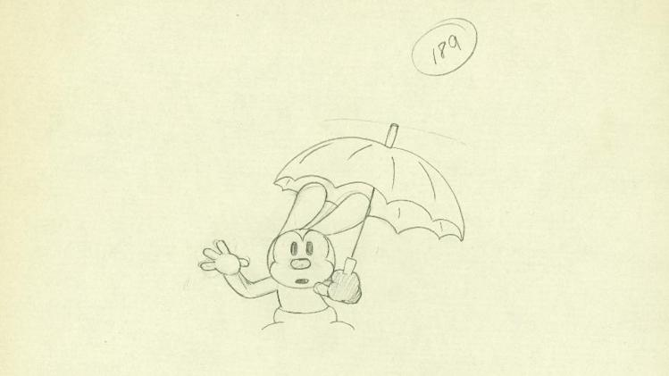 "In this animation drawing released by Disney, an image from the 1928 Oswald the Lucky Rabbit short, ""Sky Scrappers,"" is shown. The film was the 22nd Oswald short cartoon produced, and was part of Walt Disney's early career success. Oswald the Lucky Rabbit, the wacky predecessor to Mickey Mouse, was brought out of the Disney archive this week and showcased at an event unveiling ""Disney Epic Mickey 2,"" an upcoming video game that allows players to control Mickey and Oswald. (AP Photo/Disney)"