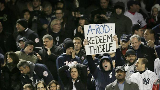 Fans jeer New York Yankees Alex Rodriguez in the sixth inning during Game 1 of the American League championship series against the Detroit Tigers Saturday, Oct. 13, 2012, in New York. (AP Photo/Matt Slocum)