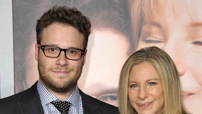 "Cast members Seth Rogen, left, and Barbra Streisand attend the LA premiere of ""The Guilt Trip"" at the Regency Village Theater on Tuesday, Dec. 11, 2012, in Los Angeles. (Photo by John Shearer/Invision/AP)"