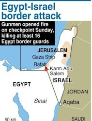 Map locating the area where gunmen killed 16 Egypt guards near the border with Israel on Sunday. Egypt's military killed 20 militants in a raid using helicopter gunships in Sinai on Wednesday, a military official said, days after 16 soldiers were killed in an attack attributed to Islamic extremists