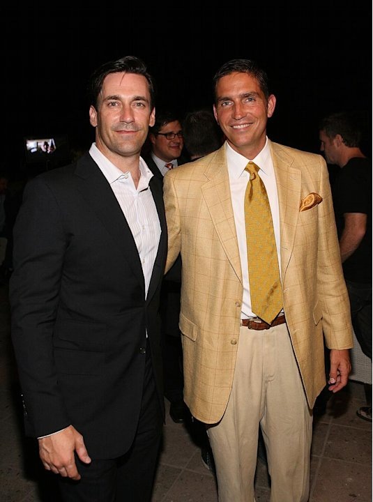 "Jon Hamm (""Mad Men"") and James Caviezel (""The Prisoner"") attend AMC's 2009 TCA Summer Tour cocktail reception at The Langham Resort on July 28, 2009 in Pasadena, California."