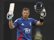 England's Ian Bell celebrates reaching a hundred during the first one-day international between England and West Indies at the Ageas Bowl in Southampton. England beat the West Indies by 114 runs under the Duckworth/Lewis method to win the first one-day international