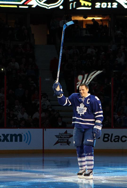 Dion Phaneuf #3 Of The Toronto Maple Leafs And Team Chara Skates Getty Images