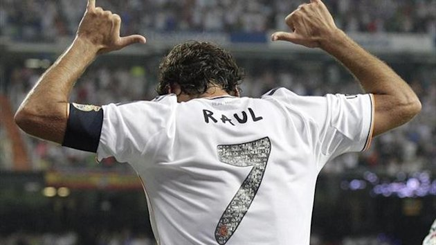 Raul celebrates scoring for Real Madrid against Al-Sadd