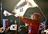 &lt;p&gt;A supporter of South Korea&#39;s presidential candidate Park Geun-Hye of the ruling New Frontier Party waves national flags during an election rally in Seoul on December 18, 2012.&lt;/p&gt;