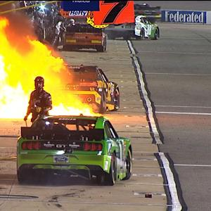 Fire erupts in No. 62 pit