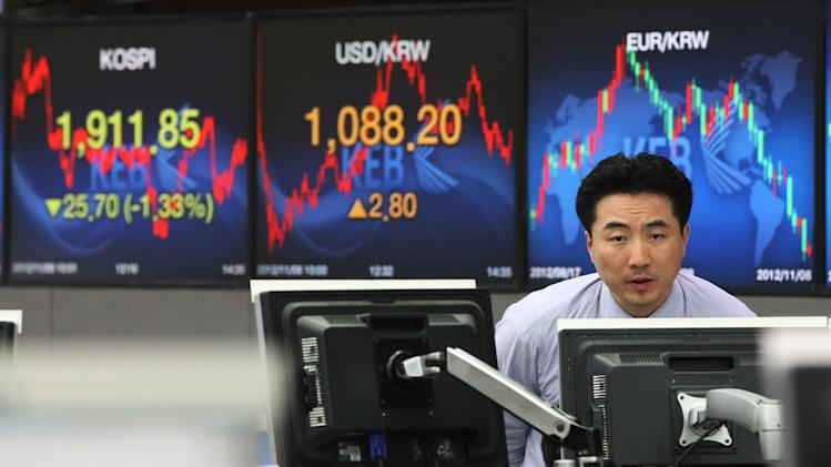 A currency trader watches monitors in front of screens showing the Korea Composite Stock Price Index (KOSPI), center, and foreign exchange rate, left, at the foreign exchange dealing room of the Korea Exchange Bank headquarters in Seoul, South Korea, Thursday, Nov. 8, 2012. South Korea's Kospi dropped 1.19 percent at 1,914.43. (AP Photo/Ahn Young-joon)