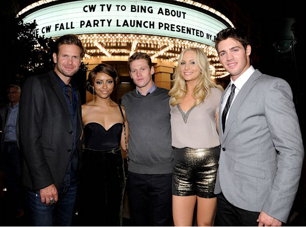 "Matt Davis, Kat Graham, Zach Roerig, Candice Accola, and Steven R. McQueen of ""The Vampire Diaries"" attend The CW Fall Premiere party presented by Bing at Warner Bros. Studios on September 10, 2011 in"