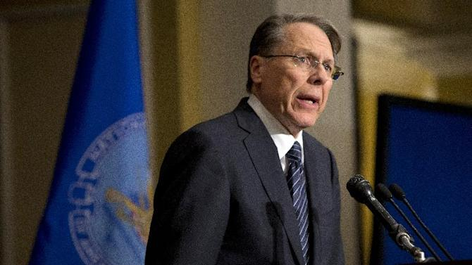 "FILE - In this Friday, Dec. 21, 2012 file photo, The National Rifle Association executive vice president Wayne LaPierre, speaks during a news conference in response to the Connecticut school shooting in Washington.  ""Law-abiding gun owners will not accept blame for the acts of violent or deranged criminals,"" LaPierre said in his statement prepared for the hearing but released on Tuesday Jan. 29, 2013. ""Nor do we believe the government should dictate what we can lawfully own and use to protect our families."" (AP Photo/Evan Vucci)"