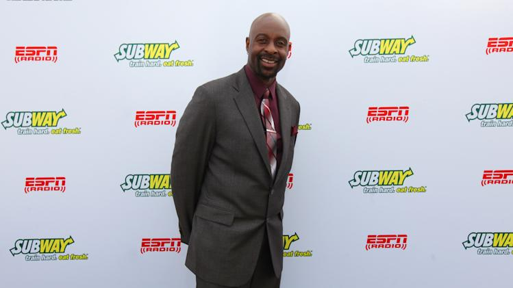 IMAGE DISTRIBUTED FOR SUBWAY - Hall of Famer wide receiver Jerry Rice seen outside at the Subway Fresh Take Green Room, on Friday, Feb. 1, 2013 in New Orleans. (Photo by Barry Brecheisen/Invision for SUBWAY/AP Images)