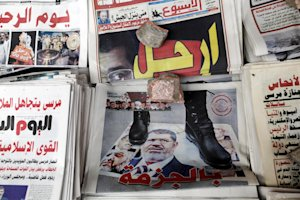 Front pages of Egyptian independent newspapers are…