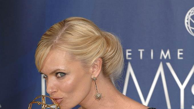 Jaime Pressly poses with her Best Supporting Actress in a Comedy Emmy at the 59th Annual Primetime Emmy Awards at the Shrine Auditorium on September 16, 2007 in Los Angeles, California.