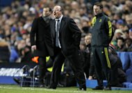 Chelsea's interim coach Rafael Benitez shouts to his players during the UEFA Champions League Group E match at home to FC Nordsjaelland. Since taking over from the sacked Roberto Di Matteo, Benitez has seen Chelsea fall 10 points off the pace in the Premier League, and they now hold the dubious distinction of being the first Champions League holders to tumble at the first hurdle