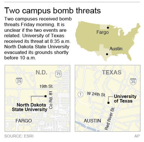 Two maps locate separate university campuses that have received bomb threats