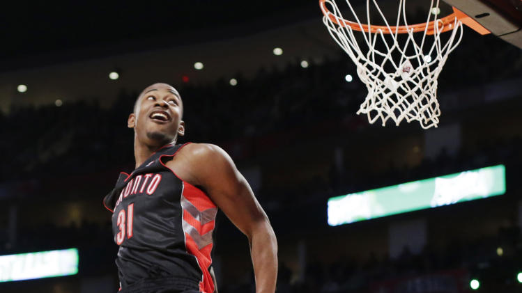Terrence Ross of the Toronto Raptors goes up at the dunk contest during NBA All-Star Saturday Night basketball in Houston on Saturday, Feb. 16, 2013. (AP Photo/Eric Gay)