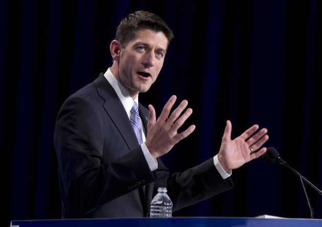 Republican vice presidential candidate, Rep. Paul Ryan, R- Wis. gestures while speaking at the Values Voters Summit in Washington, Friday, Sept. 14, 2012. (AP Photo/ Evan Vucci)