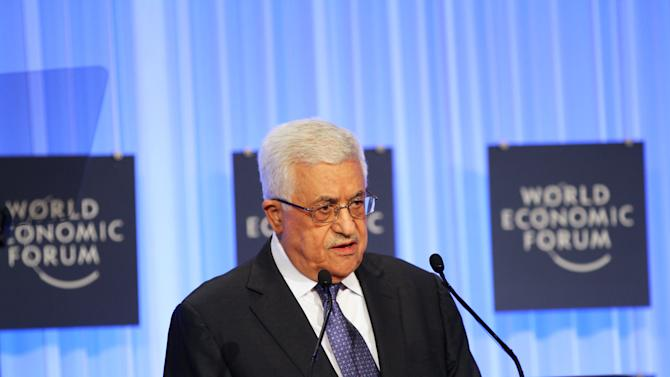 Palestinian President Mahmoud Abbas speaks at the World Economic Forum, held at the King Hussein Bin Talal Convention center, in Southern Shuneh, 34 miles (55 kilometers) southeast of Amman, Jordan, Saturday, May 25, 2013.  (AP Photo/Raad Adayleh)