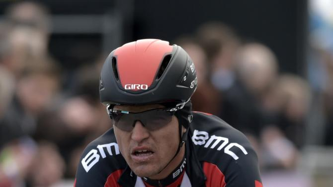 BMC Racing team rider Greg Van Avermaet of Belgium crosses the finish line to place sixth at the Omloop Het Nieuwsblad cycling race in Ghent