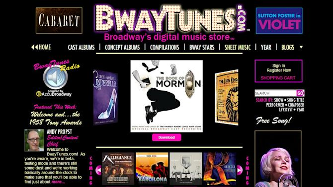 This screen image provided by BwayTunes.com shows the home page to their new digital theater music site. Monday, June 2, 2014, marks the launch of BwayTunes.com, which promises to become the Internet's most comprehensive catalog of digital musical theater music. (AP Photo/BwayTunes.com)