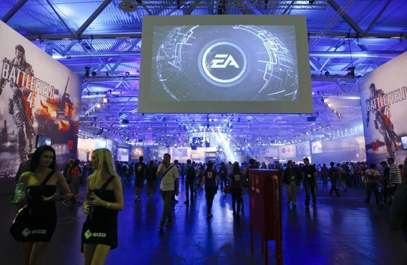 An overview shows the Electronic Arts EA exhibition stand during the Gamescom 2013 fair in Cologne