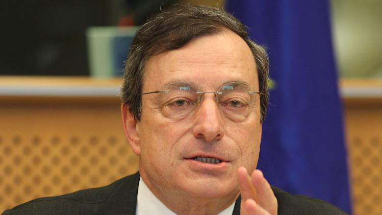 President of the European Central Bank Mario Draghi reports to the Economic Committee, in capacity as the head of the European Systemic Risk Board, at the European Parliament in Brussels, Thursday, May 31, 2012. (AP Photo/Yves Logghe)