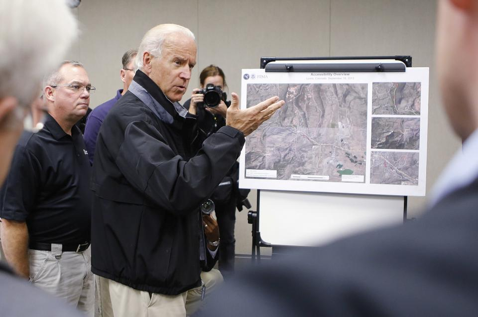 Vice President Joe Biden speaks during a briefing on the floods in Colorado at the FEMA Disaster Recovery Center in Greeley, Colo., Monday, Sept. 23, 2013. Biden took a helicopter tour of the flood damage in Colorado before meeting with officials at the center. (AP Photo/Ed Andrieski)