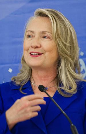 U.S. Secretary of State Hillary Rodham Clinton delivers remarks for the launch of the Brunei-U.S. English Language Enrichment Project for ASEAN at Universiti Brunei Daussalam in Bandar Seri Begawan, Brunei, Friday, Sept. 7, 2012. (AP Photo/Jim Watson, Pool)