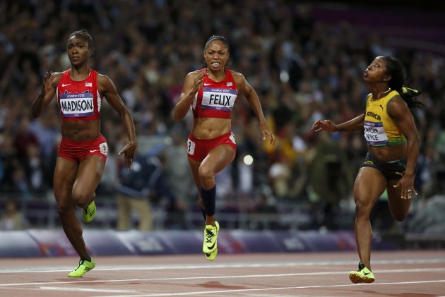 Fraser-Pryce edges out Tianna Madison (4th) and Allyson Felix (5th).