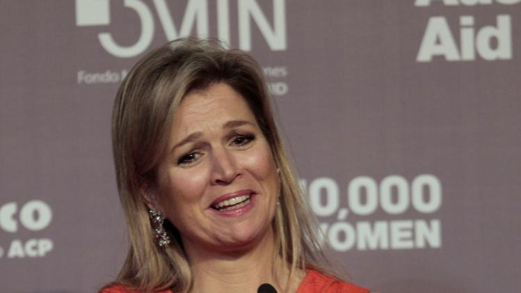 Netherland's Queen Maxima gives a speech in Lima