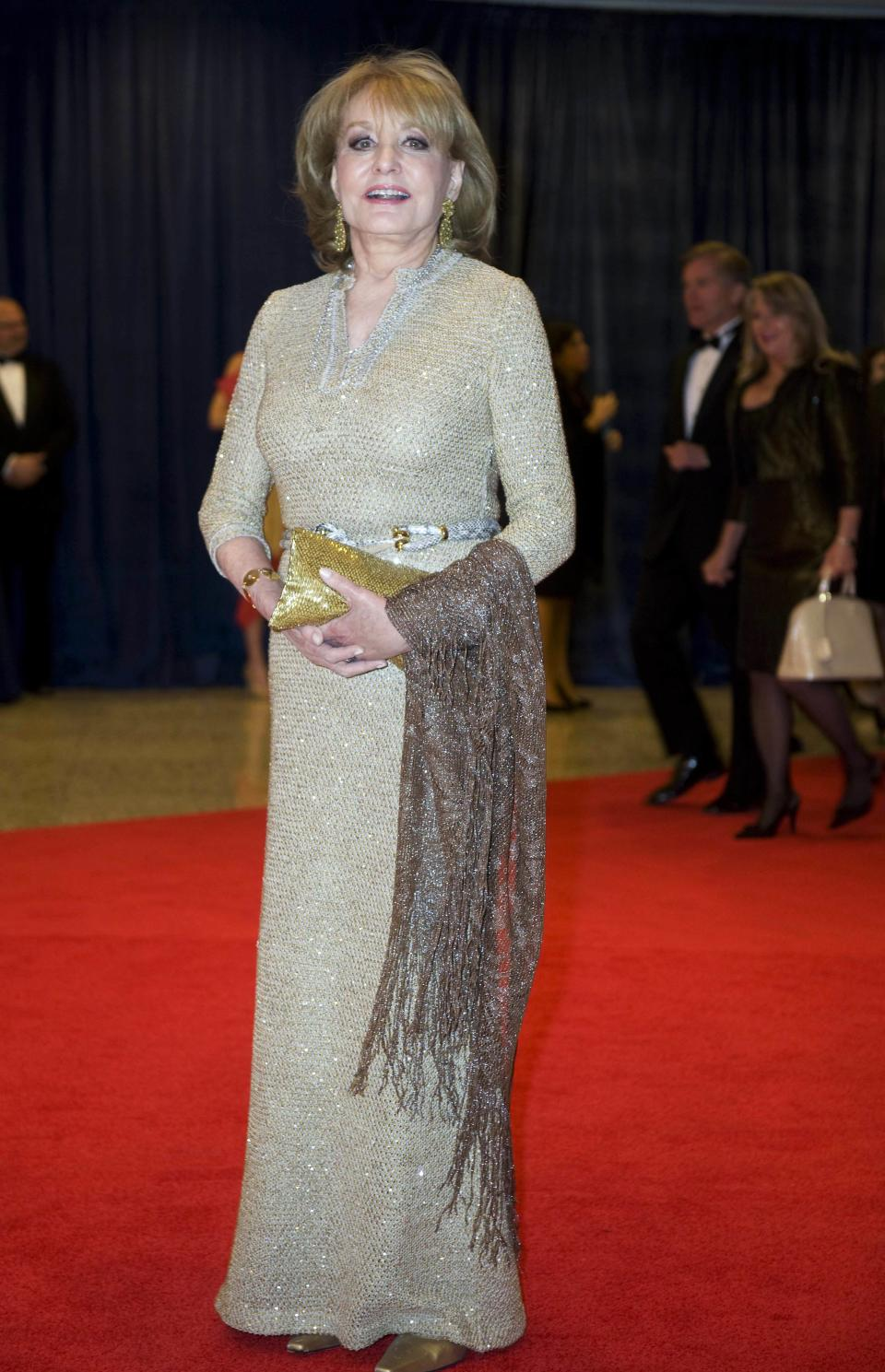 Barbara Walters arrives at the White House Correspondents' Association Dinner on Saturday, April 28, 2012 in Washington.  (AP Photo/Kevin Wolf)